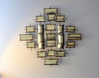 Vintage 70's Brutalist Metal Wall Sculpture in the Style of Curtis Jere - Geometric Mounted Wall Sculpture