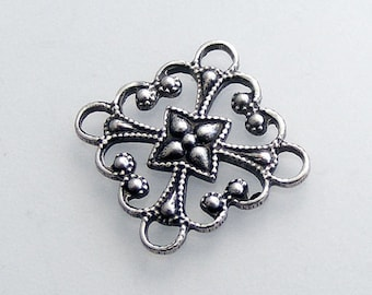 LuxeOrnaments Oxidized Sterling Silver Plated Filigree Square Connector (2 pcs) T11-VJS G-07310