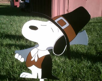 Thanksgiving Pilgrim Snoopy Yard Art