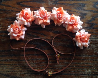 Orange Silk Flower Power HeadBand- Flower Crown - Halo