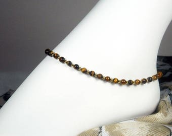 """Tiger Eye Anklet - Gemstone Ankle Bracelet - Brown and Gold Anklet - Brown Anklet - Girls Size - Plus Size - 7"""", 8"""", 9"""", 10"""", 11"""", 12"""", 13"""""""