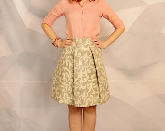 Women linen midi skirt with pattern/grey, brown