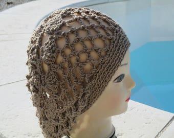 cotton Beanie style dreadlocks, mother's day Hat crochet baige