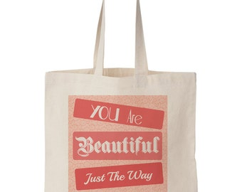 You Are Beautiful Just The Way You Are Tote - Peach, Bible Art, Art, Painting, Christian Art, Bible, Natural Canvas tote, Beautiful