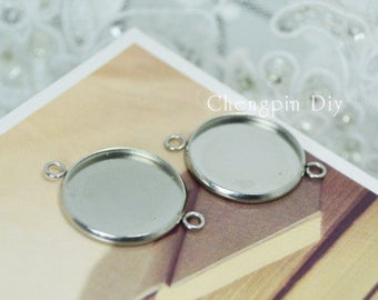 50pcs Stainless Steel Pendant Trays 8mm/ 10mm/ 12mm/ 14mm/ 16mm/ 18mm/ 20mm Round Bezel Setting W/ 2 Rings Wholesale Pendant Base for DIY