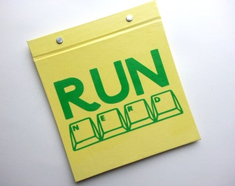 Race Bib Holder - Runnerd Run Nerd - Gift for Runner Geekery - Race Bib Book Hand-bound for Runners Pale Yellow and Green
