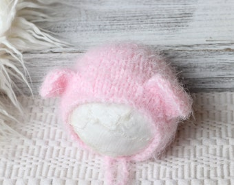 Knitted New born Pink Teddy Bonnet, New Born teddy Girl