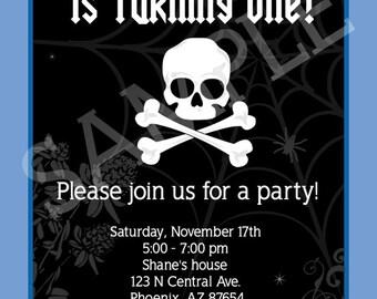 Custom Skull and Crossbones, Rock Birthday Party Invitation