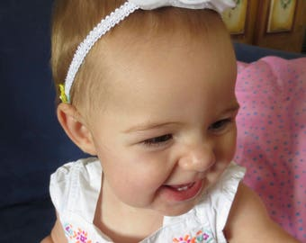 White Rose Bud Felt Flower Boho Headband / Hair Acessory for Girls Kids