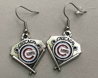 Chicago Cubs Logo Earrings, with or without beads