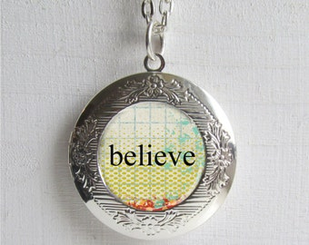 Photo Locket, Believe Necklace, Inspirational Jewelry, Locket Necklace