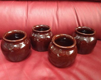 Brown Honey Pots - Jars...set of 4 -  marked USA