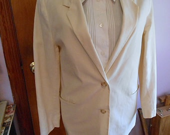 Casual White LINEN JACKET BLAZER Lady Sz 12, Hip Length 2 Buttons, 2 Welted Pockets Summer Spring Wear, Satin Lining, Comfy 1990s Birthday