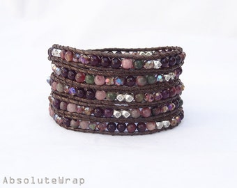 Stone wrap bracelet with crystal and metal beads on brown polyester cord, purple, pink, green