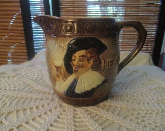 Cavalier Falcon Ware Good Health Jug - Made in England Hand Painted