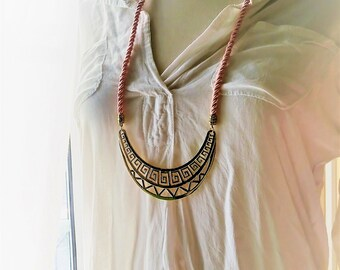 Pink Necklace, Brass Necklace, Gold Necklace, Crescent Necklace, Summer Necklace, Boho Necklace, Tribal, Greek Necklace, Statement Necklace