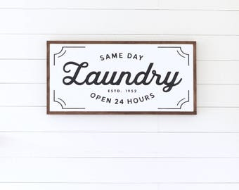 VINTAGE LAUNDRY Painted wood sign (Stained Frame) - S,M,L Sizes available  | Wall decor (Rustic Chic, Modern Farmhouse, Fixer Upper)