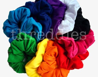10 cotton scrunchies // rainbow colors, black, or black and white