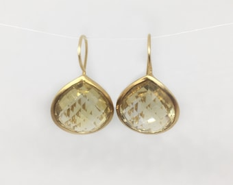 Gold Vermiel Drop Earrings with Pear Shaped Citrine