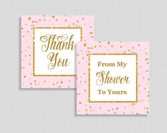 Baby Shower Favor Tags, Thank You and From My Shower To Yours Shower Favor Tags, Pink & Gold Glitter Confetti, INSTANT PRINTABLE