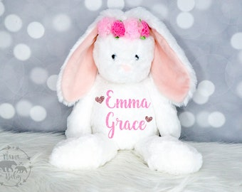 Baby Girls Personalized Bunny Plush, Bunny Toy, Bunny Stuffed Animal, Flower Girl Gift, First Birthday Gift, Newborn Gift