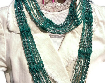 Skinny Summer Scarf Valentine's gift Spring Scarf DIY Gift 2 for 1  Patterns Beaded Crochet  Scarf Pattern  Infinity AND Fringed Necklace