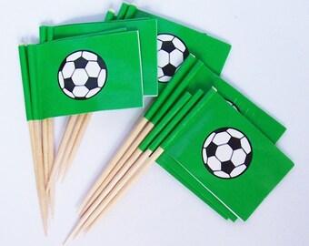 12 Soccer Flag Cupcake Picks