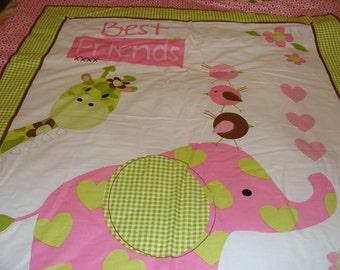 Baby Quilt~~ Best Friends~~ Pink Elephant and Green Giraffe