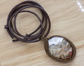 Beautiful Crazy Lace Agate Cabochon Wire Wrapped Pendant Vintage Bronze Wire Wrapped Jewelry Handmade Free US Shipping Celtic Boho Necklace
