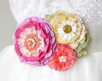 Wedding Sash - Bridal Belts - Colorful Wedding - Dress Sash - Bridal Sash with Flowers - Floral Wedding Sash - Hot Pink Wedding Belt - Sash