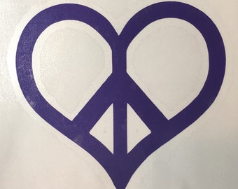 Vinyl Decal - Peace Heart - 3""