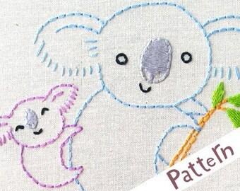 K Koala INSTANT DOWNLOAD PDF embroidery pattern
