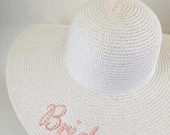 Bride Floppy Hat - White Monogrammed Floppy Hat - Bridesmaids Gift- SALE