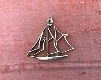 Sailboat Ship Sterling Silver Boat Pendant Charm