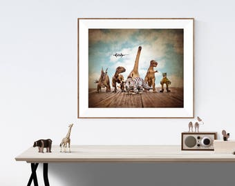 Dinosaur Decor, Dinosaurs on the Run on Vintage Sky, Photo Print , Boys Room Decor, Dinosaur Art, Dinosaur photos, Dinosaur Prints