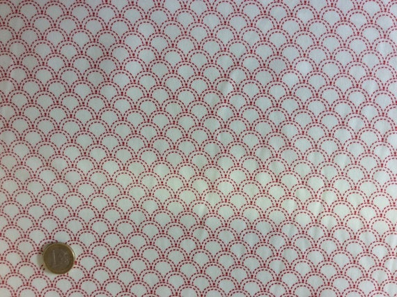 High quality cotton poplin printed in Japan, red/white Japanese print