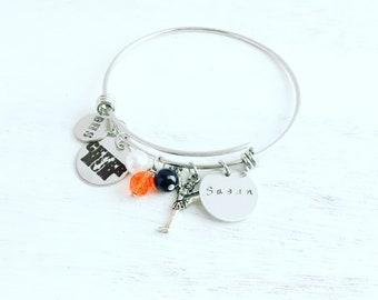 Cheer mom, cheer mom jewelry, cheer mom charm, hand stamped jewelry, cheer mom charm bracelet, cheer charms, stamped charm bracelet, cheer