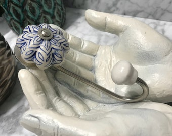 Ceramic Wall Hooks, Hand Painted Knob Coat Hook, Cobalt Blue and Antique White, Purse Hanger, Decorative Towel Rack Hook, Item #585460206