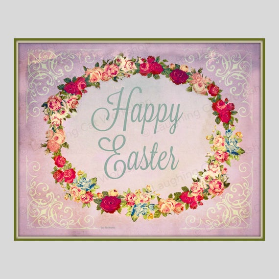 Items Similar To Easter Art Print Happy Shabby Chic Cottage Decor Victorian Flower Garland Gift Wall Spring