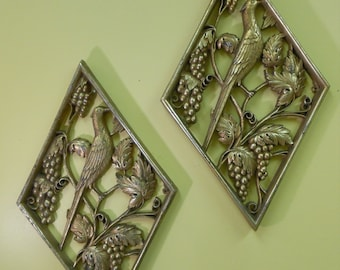 Set of Two Mid Century Wall Hangings / Birds