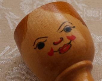 Wooden Eggcup, Folk Art, Face Egg Cup, Vintage Egg Cup, Egg Holder, Breakfast Table, Painted Wood, Cute Egg Cup, Kitchen Decor, Turned Wood