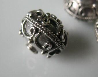 Bead-Sterling silver bead-12mm sterling silver bead-jewelry-.925 sterling silver-beading supplies-ONE BEAD