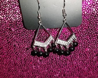 Silver and Black Chandelier Dangle Earrings NEW with tags