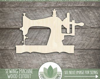 Wood Sewing Machine Laser Cut Shape, Sewing Machine Wood Cut, DIY Craft Supplies, Blank Wood Shapes