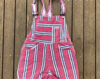Vintage 90's Guess Jeans USA Striped Denim Women's Size Aus 6 / Extra Small Festival Overalls Shortall Retro Summer Guess Jeans Unique Denim