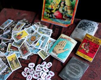 Fortunes Told Digital Collage Sheet PDF Download Miniature Tarot Tea Reading Phrenology Palmistry Magazines Runes