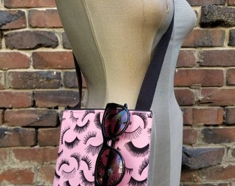 Lashes Eyelashes Lashing Small Purse Tote Bag Pink and Black