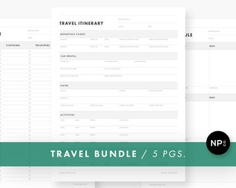 Minimalist Travel Bundle - Itinerary, Schedule, Packing List, Budget, Journal - Printable PDF - Instant Download - Vacation Planner