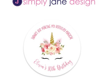 Unicorn Stickers, Return Address Labels, Favor stickers -- Sheet of 12 or 20 - Pink and gold