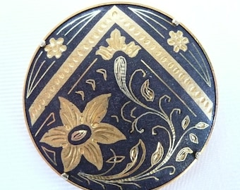 Early Vintage Damascene Circle Brooch with Trombone Clasp